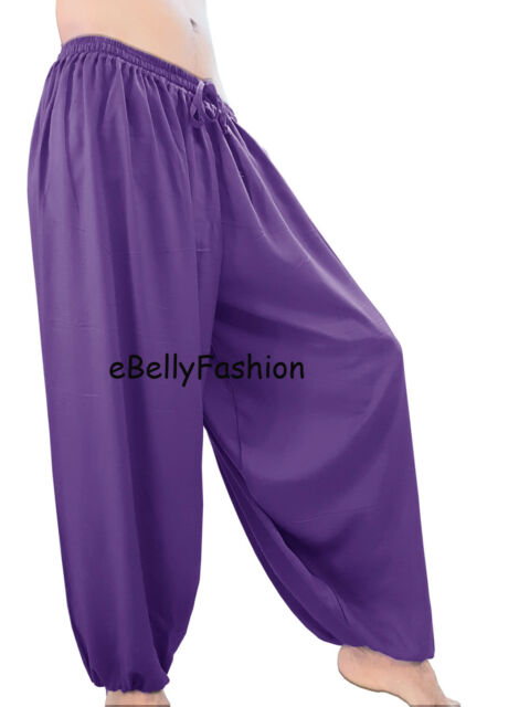 White Cotton Harem Yoga Pants Belly Dance Trousers Aladdin Students Pantalons
