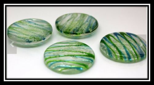 Flat Round about 30mm in diameter Green Luminous Glass Cabochons