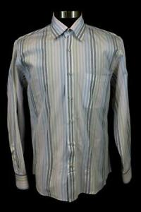 mens-white-colorful-striped-ROBERT-TALBOTT-carmel-casual-dress-shirt-cotton-L