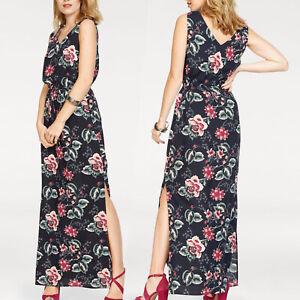genial LANG MAXIKLEID Gr.XS/S 34/36 Maxi Kleid Blumen BOHO GOA blau Sommerkleid