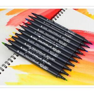 10-x-Pinselstift-Dual-Brush-Pen-Wasserfarbenstifte-Doppelspitze-No-31101