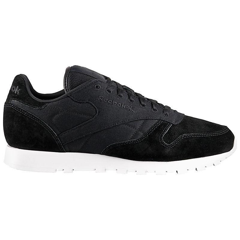 Cómodo y bien parecido Reebok Cuero Clásico Zapatillas de Hombre Negro Zapatos Rbk Cl V70836 Nuevo
