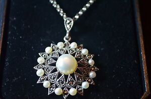 BNIB-sterling-silver-marcasite-synthetic-pearl-star-sun-necklace-20-034-belcher