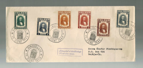 1944 Iceland First Day Cover to Reykjavik Complete set # 240245