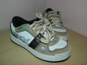 Enfants Skechers Skx Blanc/beige à Lacets Chaussures Baskets Uk 2 Eur 35 * Très Bon état-afficher Le Titre D'origine