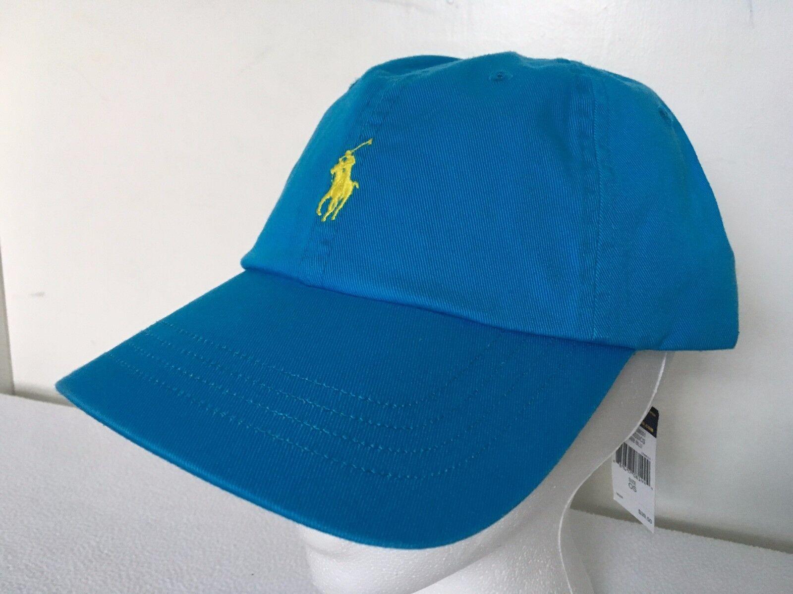 Polo Polo Polo Ralph Lauren Hat Baseball Cap~Caribbean Blue~Fabric Strap~Yellow Logo~NWT 6a0256
