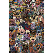 Wooden Jigsaw Puzzle 500 PCS Dog's Group Photo Cartoon Animals Kid Toy Painting