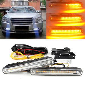 2tlg-18cm-Auto-LED-Blinker-Tagfahrlicht-Nebelscheinwerfer-DRL-Universal-12V