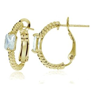Gold-Tone-over-Sterling-Silver-Cubic-Zirconia-Rectangle-Oval-J-Hoop-Earrings