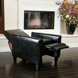 living room furniture modern design black leather recliner club chair