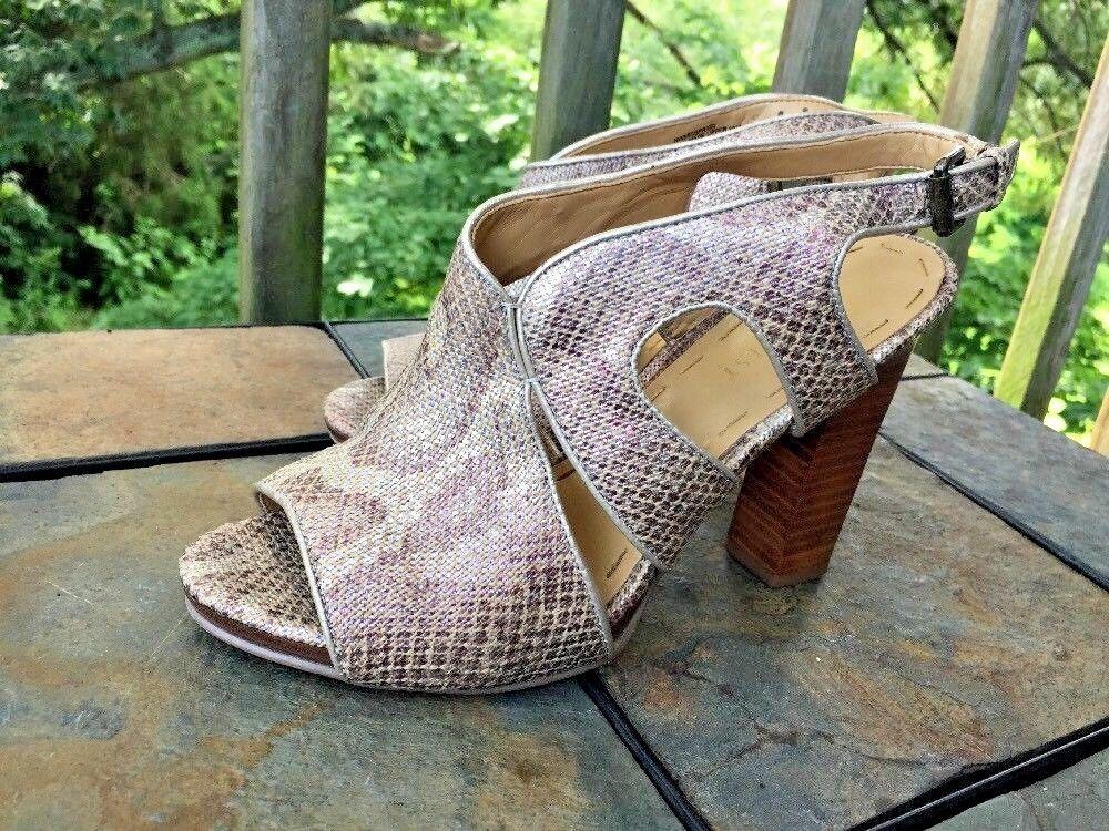 NINE WEST Faux Snake Skin Cobra Slingbacks High Heels Womens shoes Sz 6.5 b3