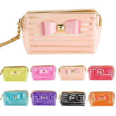 Stripe Transparent Travel PVC Bow Tie Cosmetic Make Up Handbag Case Toiletry Bag