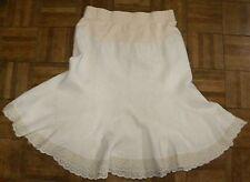 Motherhood MATERNITY Linen Skirt Flounce Eyelet Oatmeal Beige Boho size M