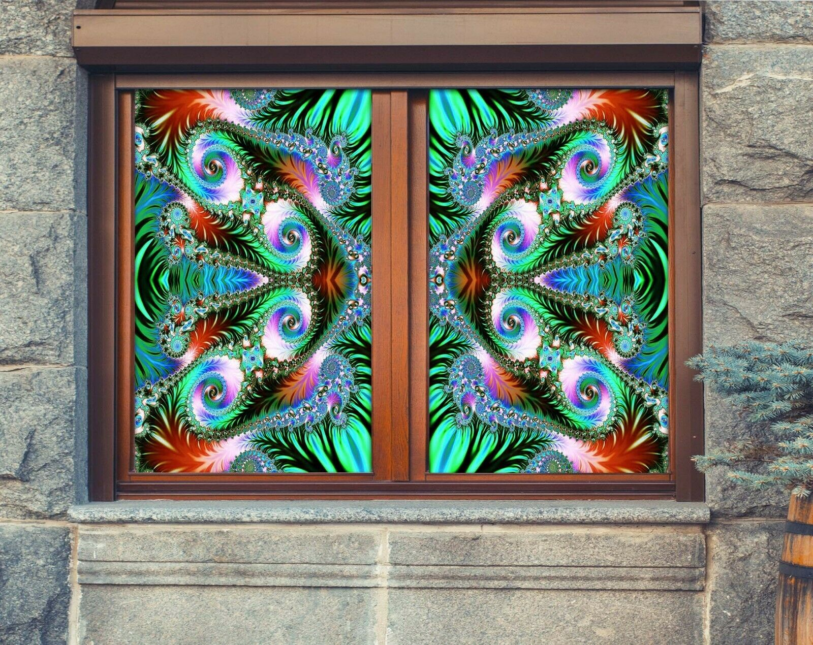 3D Magic Kaleidoscope R061 Window Film Print Sticker Cling Stained Glass UV Su