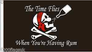 Pirate Skull & Crossbones 'The Time Flies When You're Having Rum' 5'x3' Flag