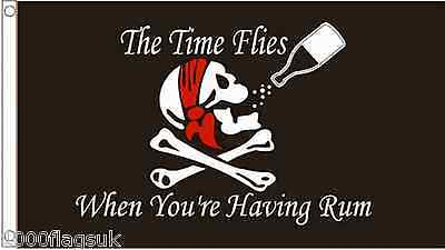 Pirate Skull & Crossbones The Time Flies When You're Having Rum 3'x2' Flag