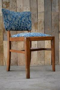 Retro-Vintage-Single-Solid-Oak-Upholstered-Floral-Art-Deco-Style-Bedroom-Chair