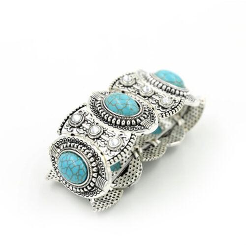 Chic Bohème Womens Retro Vintage turquoise bracelet argent tibétain