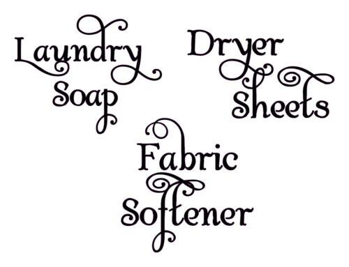 Detalles acerca de  /Sala de lavandería v1 conjunto De Vinilo En Las lavandería Jabón Suavizante secadora hojas letra floreada mostrar título original