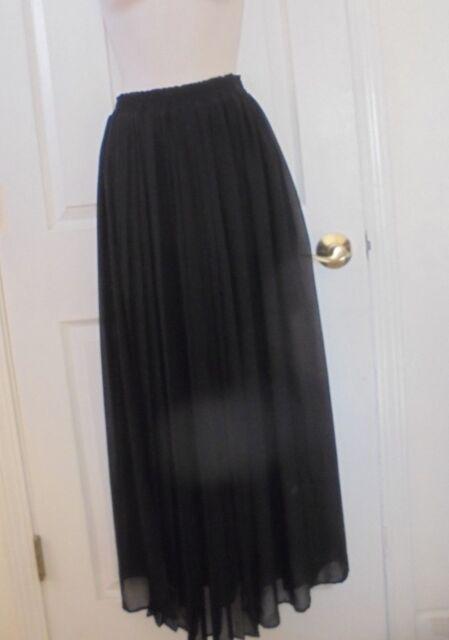 035c22a221 H&M Black Semi Sheer Lined Accordian Pleat Maxi Skirt Sz 2 XS | eBay