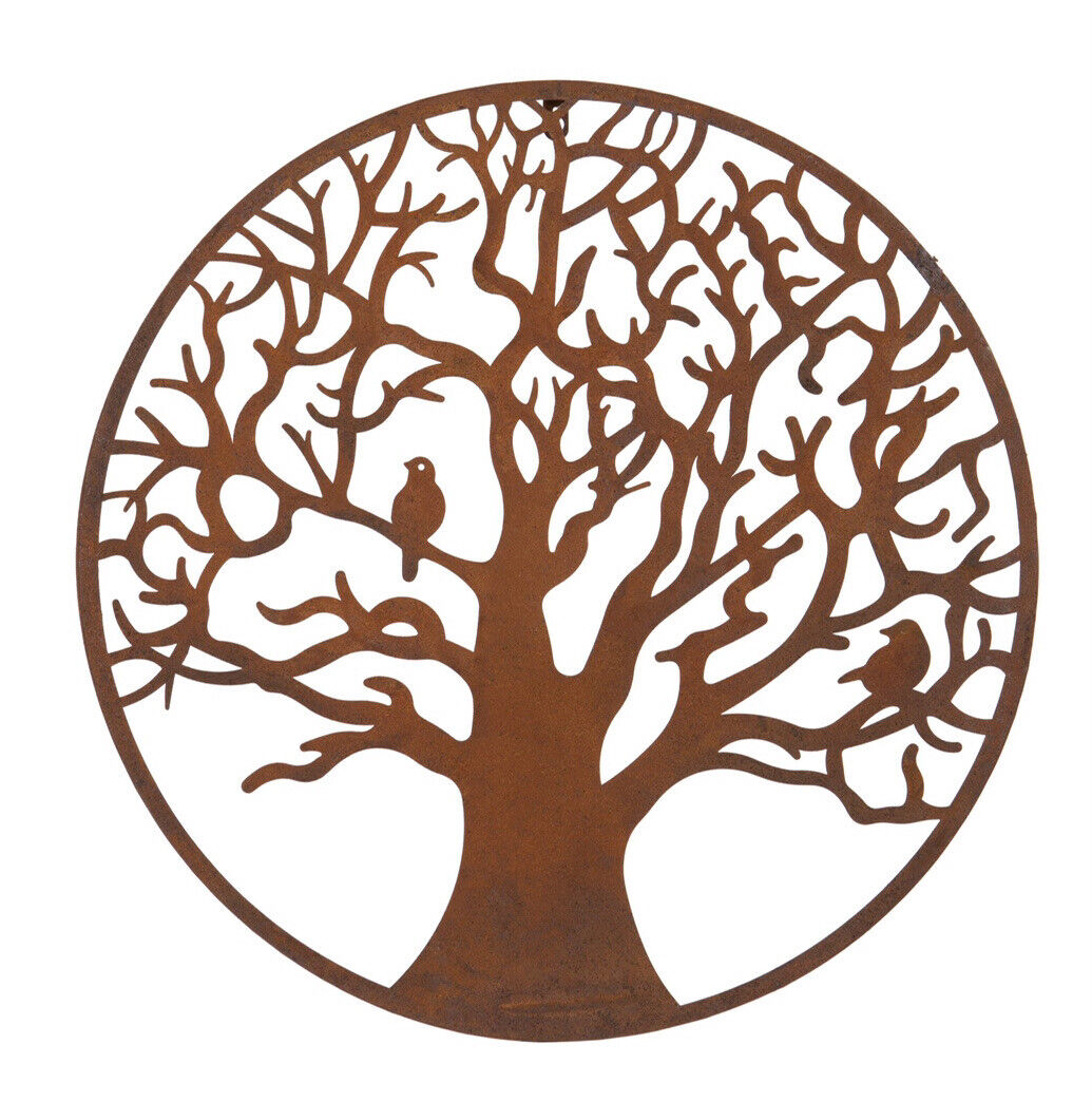 Autumn Tree of Life Metal Wall Plaque 60cms Rust Finish