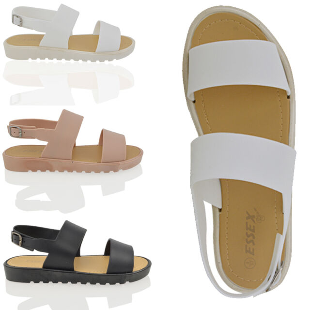 Womens Strappy Sandals Slingback Ladies Summer Cleated Sole Wedge Peep Toe Shoes