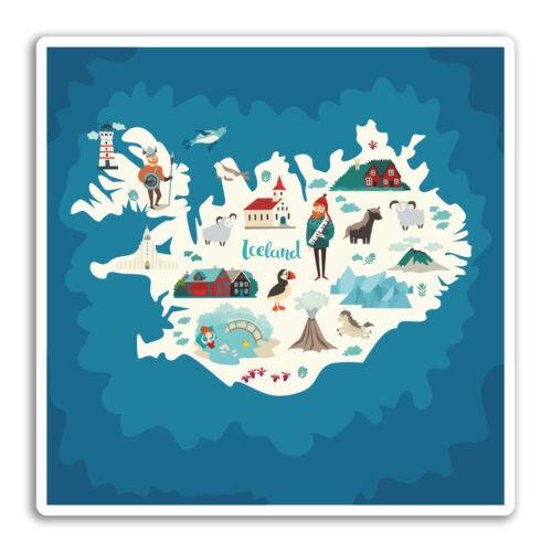 #19287 de viaje equipaje de la etiqueta engomada 2 X 10cm Islandia islandés Mapa De Pegatinas De Vinilo