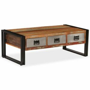 Details About VidaXL Coffee Table With 3 Drawers Solid Reclaimed Wood  Living Room Home Stand
