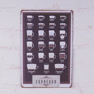 Types Of Espresso 39 S Cup Coffee Metal Tin Signs Wall Decor