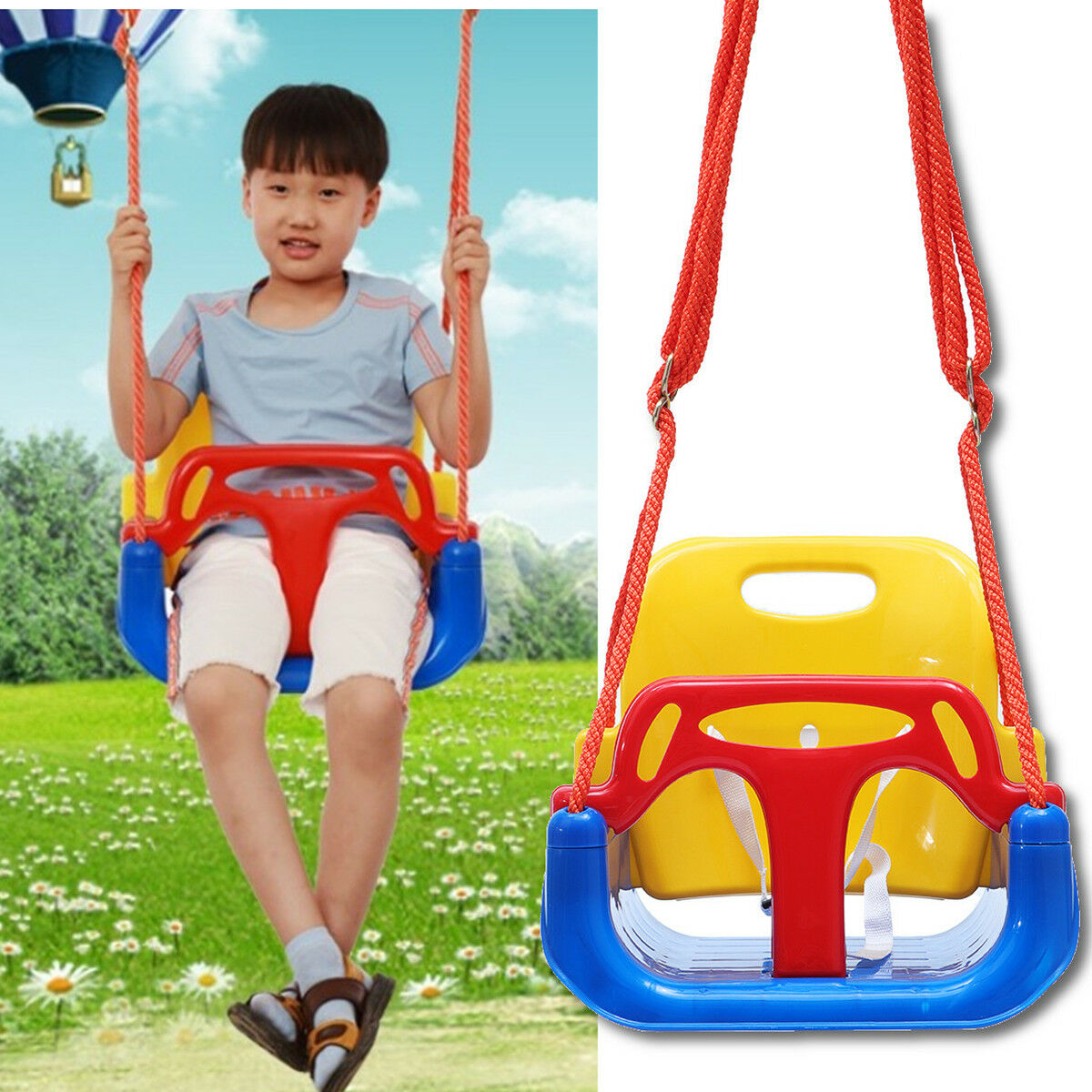Blue Rebo Back Supporting Baby Safety Swing Seat Adjustable Ropes