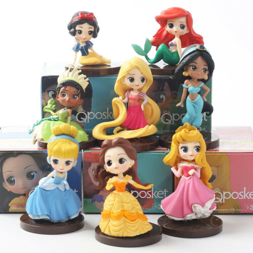 8pcs//lot Q Posket princesses figure Toys Dolls Tiana Snow White Rapunzel Jasmine
