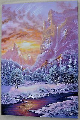JON RATTENBURY DEEP WINTER SUNRISE GICLEE ON CANVAS SIGNED #210/395 W/COA 24X36