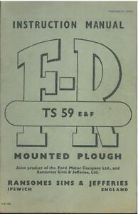TS59E TS59F RANSOMES FR TS59 E /& F PLOUGH OPERATORS MANUAL