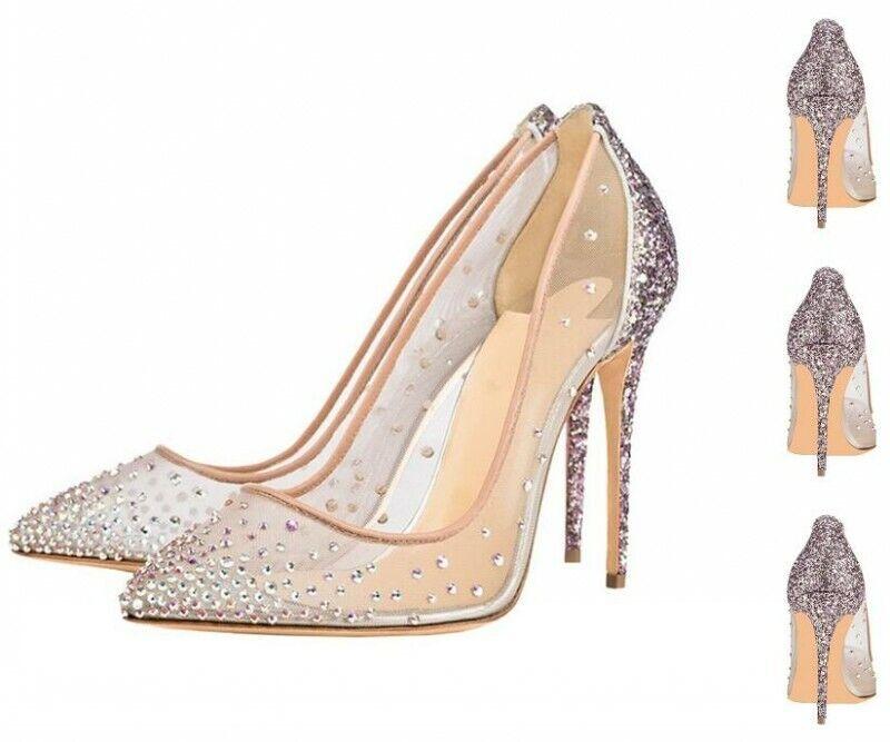 Femme Maille Strass Talons Hauts Stilettos Bout Pointu Et Fête De Mariage Chaussures Vogue