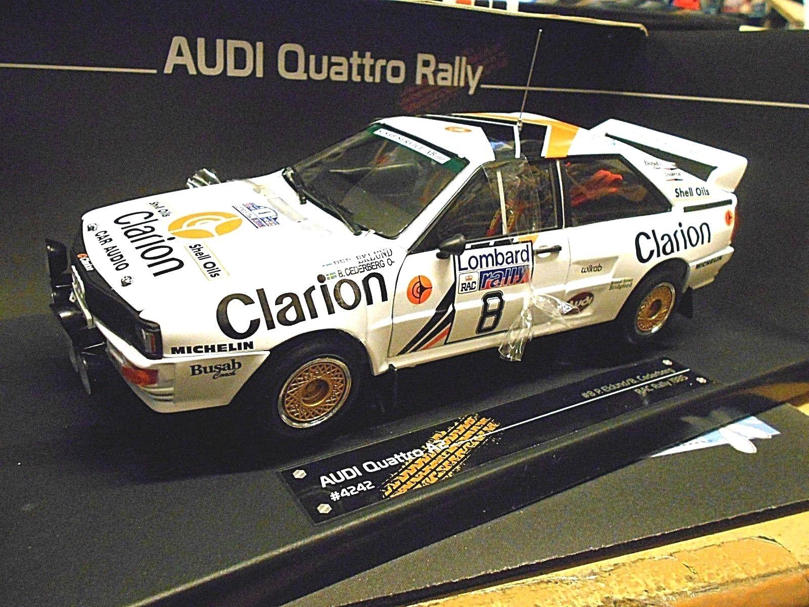 Audi Quattro Rallye WM gb RAC 1985 Eklund Clarion precio especial Sunstar 1 18
