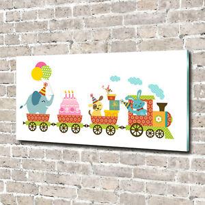 Glas-Bild-Wandbilder-Druck-auf-Glas-140x70-Deko-Kinderzimmer-Froehlicher-Zug