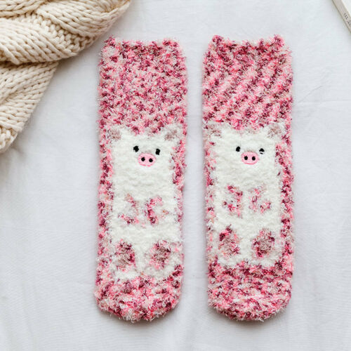 Winter Warm Fluffy Coral Velvet Sleep Floor Socks Cartoon Breathable Hosiery#