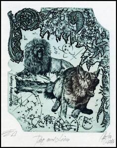 Hujber Gunter 2017 Exlibris C2 Dog and Lion Hund Animals Cat 140 -  Dabrowa, Polska - Hujber Gunter 2017 Exlibris C2 Dog and Lion Hund Animals Cat 140 -  Dabrowa, Polska