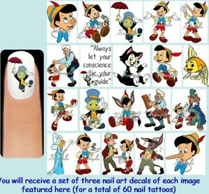 Details about 60x PINOCCHIO Nail Art Decals + Free Gems Disney Jiminy  Cricket Geppetto Donkey