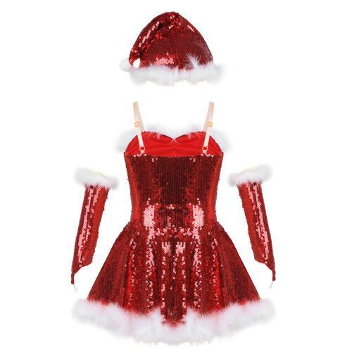 Kid Girls Xmas Holiday Dance Costume Ice Skating Leotards Set Gymnactics Clothes