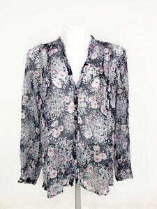 Joie-Women-s-Gray-Pink-Blue-Purple-Multi-Color-Floral-Silk-Long-Sleeve-Top-Large