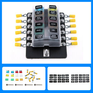 12-Wege-12v-Circuit-Blade-Fuse-Box-Block-Holder-LED-Abdeckung-Klemme-fuer-Auto-Boot