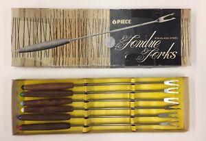 Vintage-6-Piece-Stainless-Steel-Color-Tipped-Fondue-Forks-Teak-Handles-MCM-Tiki