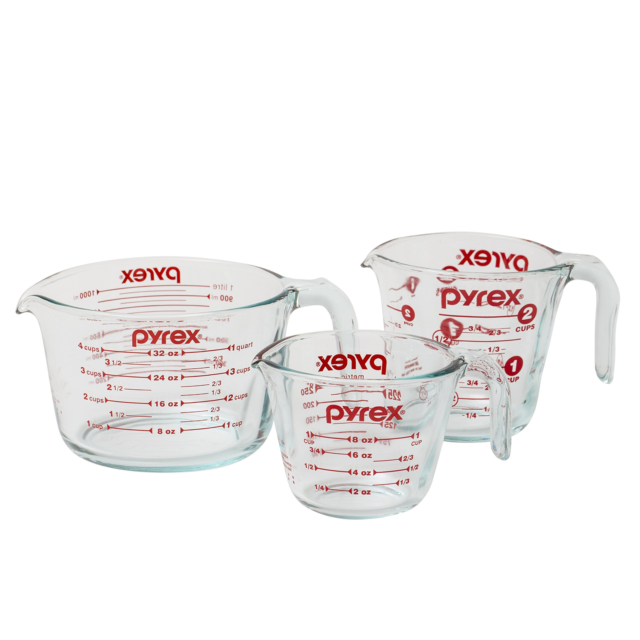Clear Measuring Cups 3-Pieces Dishwasher and Microwave Safe Made in the U S