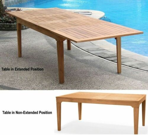 """13-Pc Outdoor Teak Dining Set: 122"""" Rectangle Extension Table, 12 Chairs Devon"""