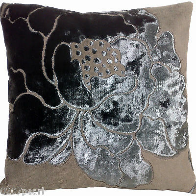 Camellia Cushion Cover Lorca Velvet Fabric Flaminia Shimmering Flower Square 16""