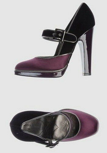 NIB ALBERTA FERRETTI purple satin Mary Jane heels 40