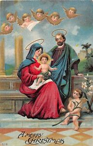 Angels-or-Cherubs-With-The-Holy-Family-on-Old-Religious-Christmas-Postcard