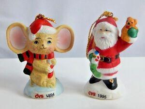 image is loading 2 vintage 1990s christmas tree ornaments cvs santa