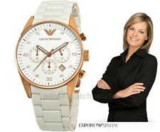 Emporio Armani AR5920 White Women's Sportivo Chronograph Wrist Watch + Box